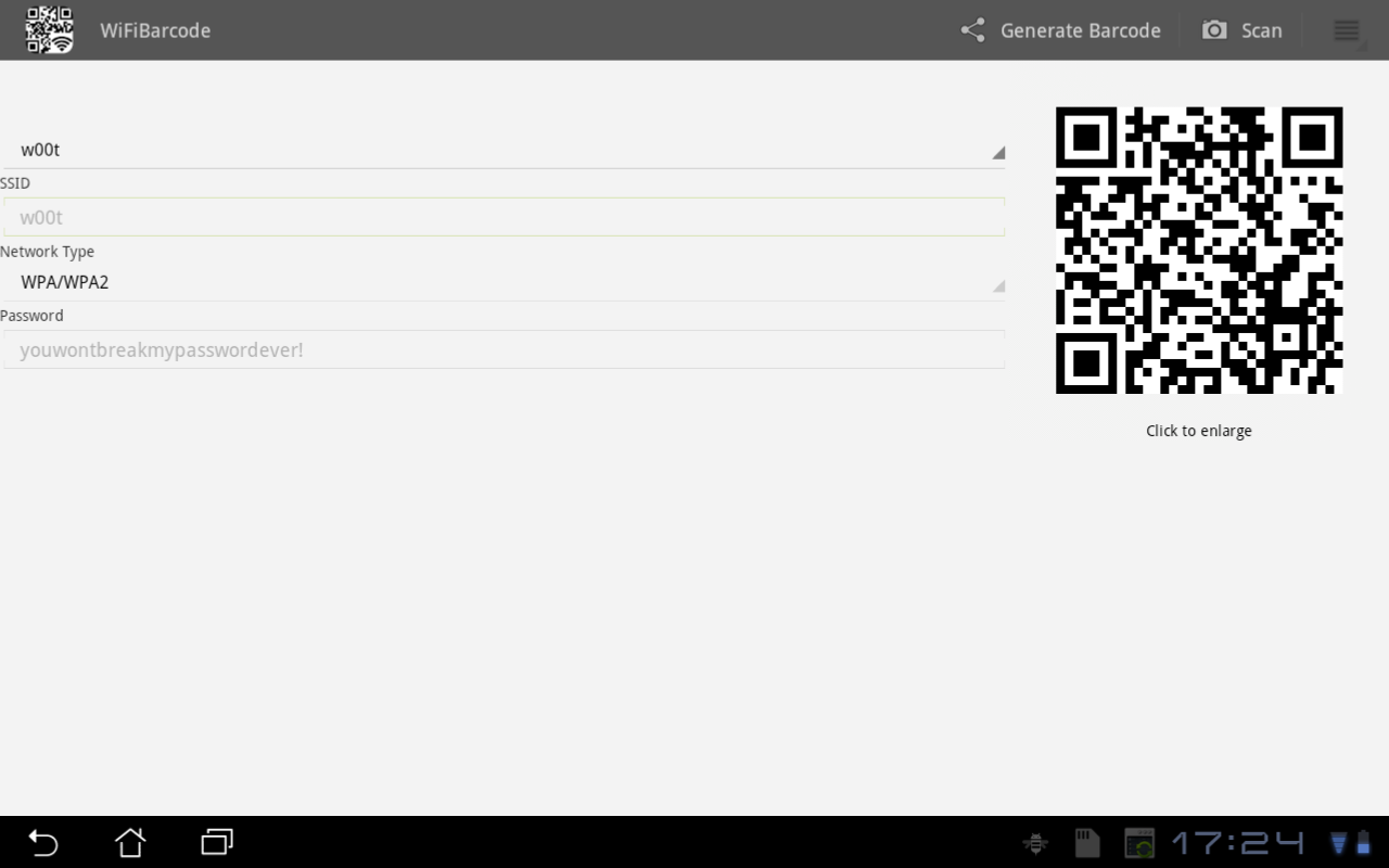 WiFi Barcode - screenshot