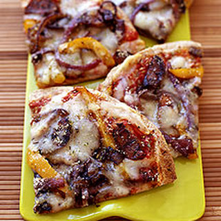 Grilled Pizza with Sausage, Onions and Peppers.