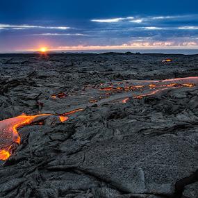 Fire Earth and Sky by Matt Mcclenahan - Landscapes Mountains & Hills ( kalapana, blue sky, nature, lava, rock, sunrise, hawaii, golden hour )