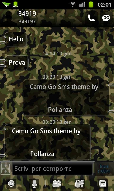 GO SMS Theme Camo- screenshot