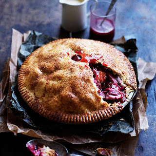 Rhubarb And Apple Pie With Warm Cinnamon Custard.