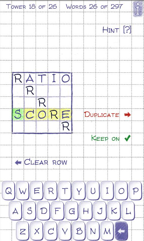 Word Tower (word game)- screenshot