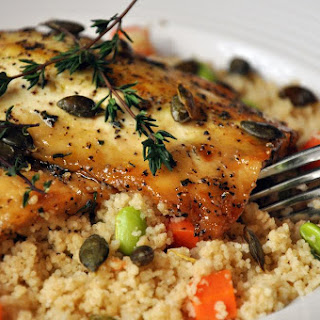 Honey Thyme Crusted Tofu with Couscous Recipe
