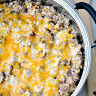 Easy Beef and Cheese Portobello Mushroom Skillet