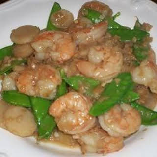 Shrimp with Ginger and Snow Peas.