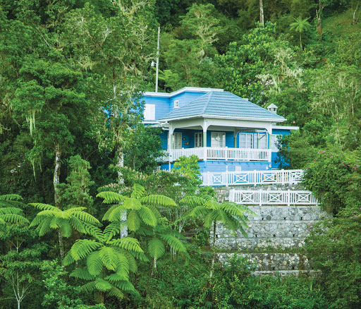 House-on-Blue-Mountain - A blue house on Blue Mountain, Jamaica.