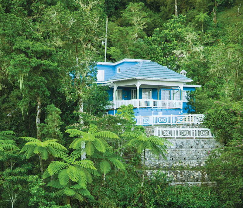A blue house on Blue Mountain, Jamaica.