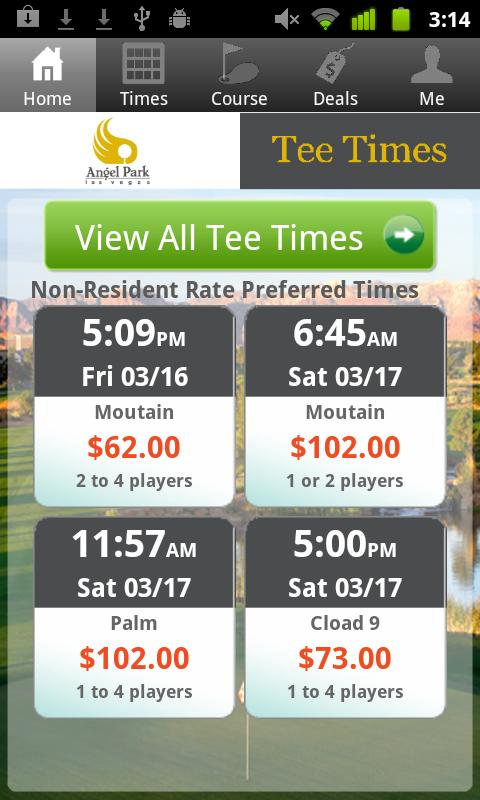 Angel Park Golf Club Tee Times - screenshot