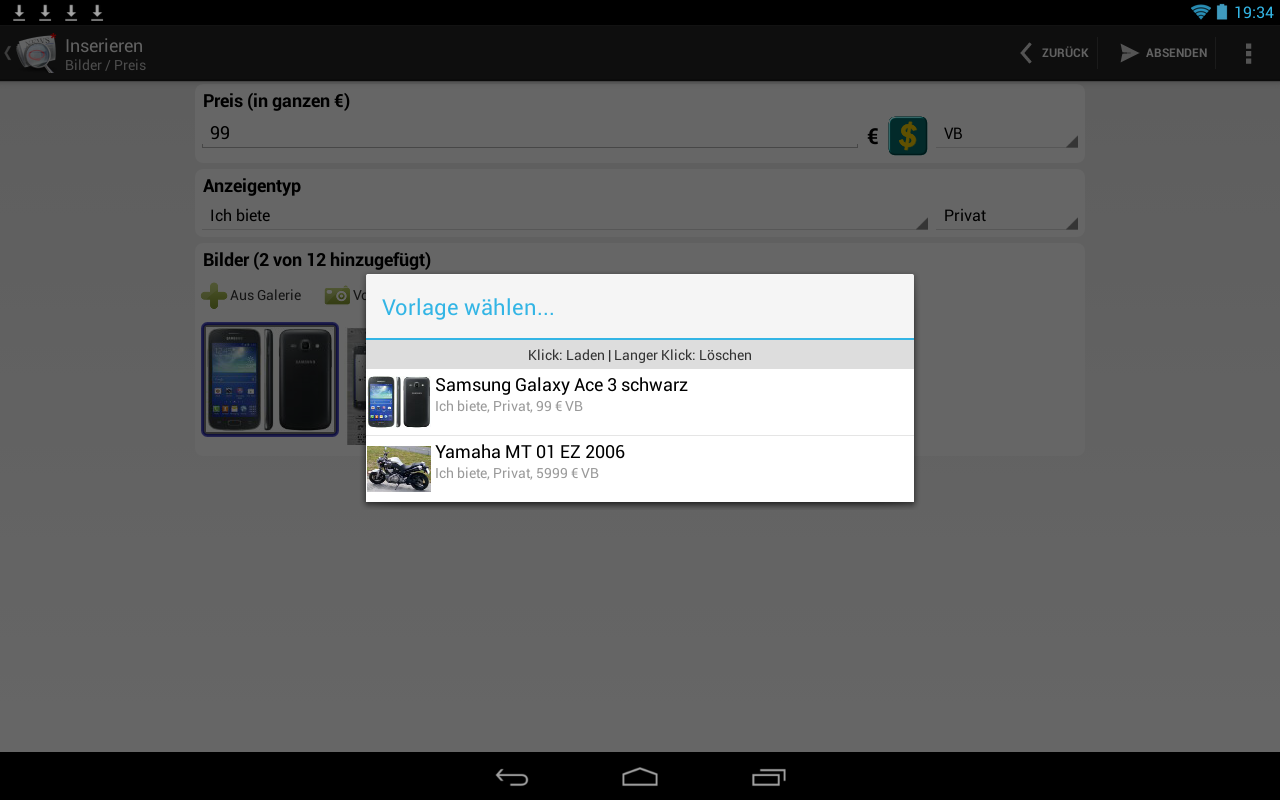 1-Klick Kleinanzeigen- screenshot
