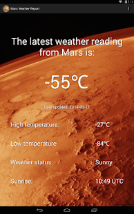 Mars Weather Report- screenshot thumbnail