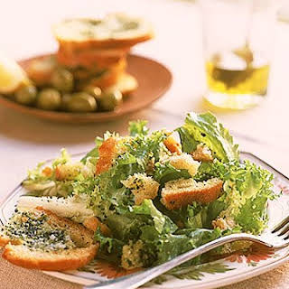 Chicory Salad with Giant Garlic Croutons.