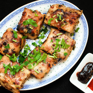 Chinese Turnip Cake With Sausage, Bacon and Mushrooms (Law Bok Gow).