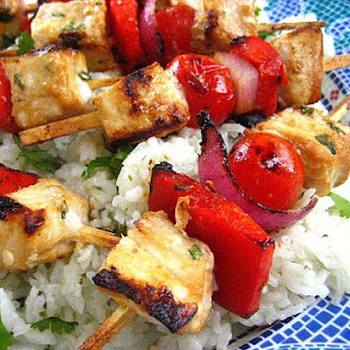 Tamari Citrus Marinated Swordfish Kabobs with Tomatoes, Onions and Peppers.