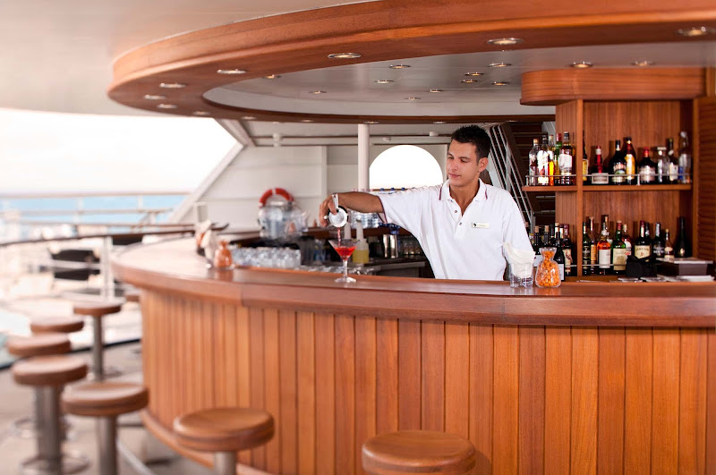 One of the features that sets Seabourn apart is its open bars throughout the ship. Meet, mingle and make friends with people in an environment where no one has to pick up the tab.