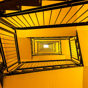 Ten floors to the light by Cesare Morganti - Buildings & Architecture Other Interior ( building, stairs, stairwell, spiral, yellow,  )