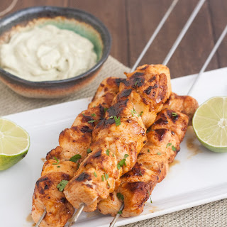 Chipotle Chicken Kebabs with Avocado Cream Sauce.