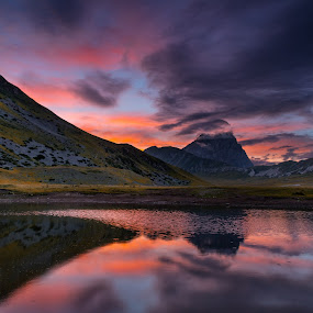 Grande Corno by Marco Carotenuto - Landscapes Sunsets & Sunrises ( clouds, mountain, sunset, landscape, reflex )