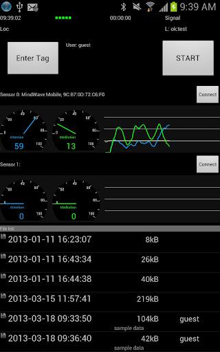 アンドロイドで二人の脳波同時計測