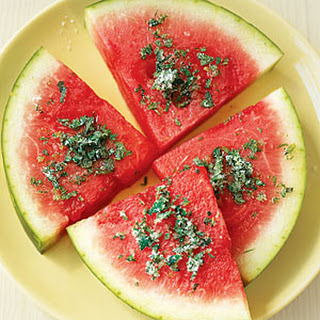 Watermelon Slices with Mint and Lime.