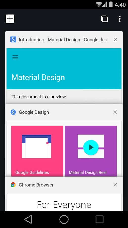 Screenshots of Chrome Beta for Android