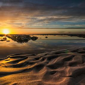 Golden sands by Graham Kidd - Landscapes Sunsets & Sunrises ( water, sand, sunset, reflections, rocks, golden, sun )