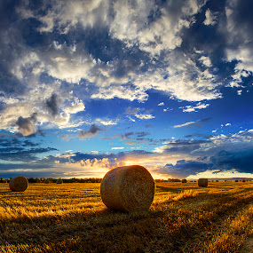 Hungarian skies pt.181 by Zsolt Zsigmond - Landscapes Prairies, Meadows & Fields ( clouds, backlit, hdr, sunset, shadow, hay, cloudscape, bales,  )