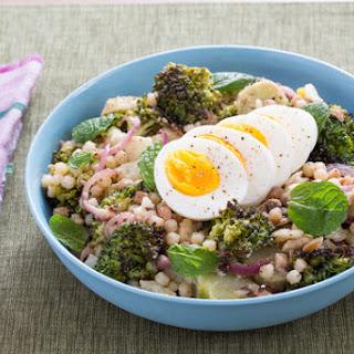 Roasted Broccoli & Fregola Sarda Salad with Soft-Boiled Eggs & Tahini Dressing.
