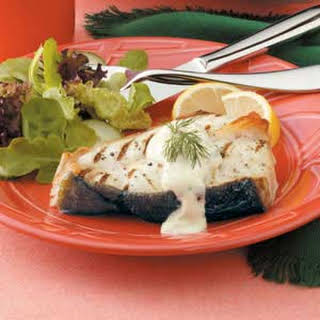 Grilled Halibut with Mustard Dill Sauce.