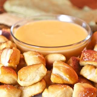 Soft Pretzel Bites with Cheese Sauce.