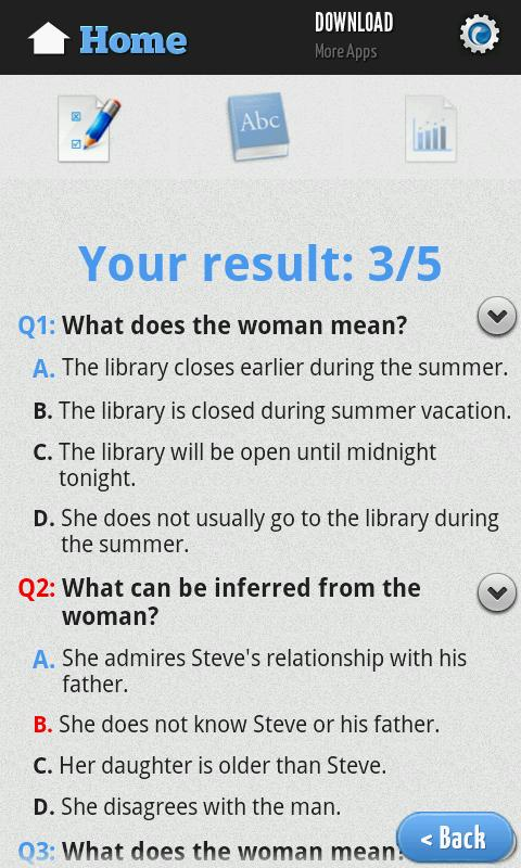 English Reading Test- screenshot