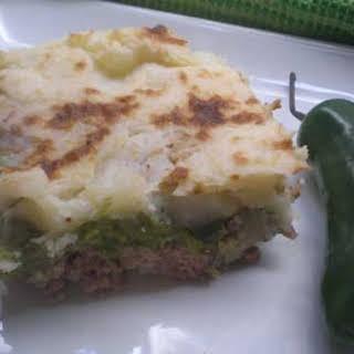 Shepherd's Pie with Jalapeno-Pea Purée.