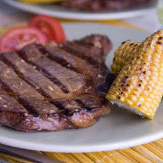 Southwestern Ribeye Steaks With Corn-on-the-cob.