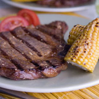Southwestern Ribeye Steaks With Corn-on-the-cob.