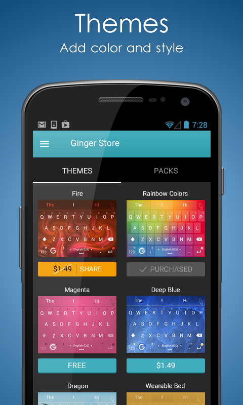 Ginger Keyboard: Emoji, Themes - screenshot