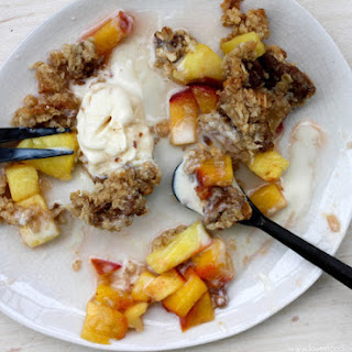 Peach Pineapple Crisp with Coconut & Ginger Snap Crumble.
