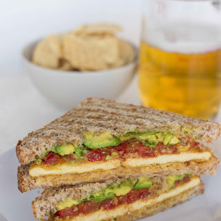 "Smashed Chickpea, Avocado and Roasted Tomato Sandwich with ""Cheesy"" Tofu Recipe"