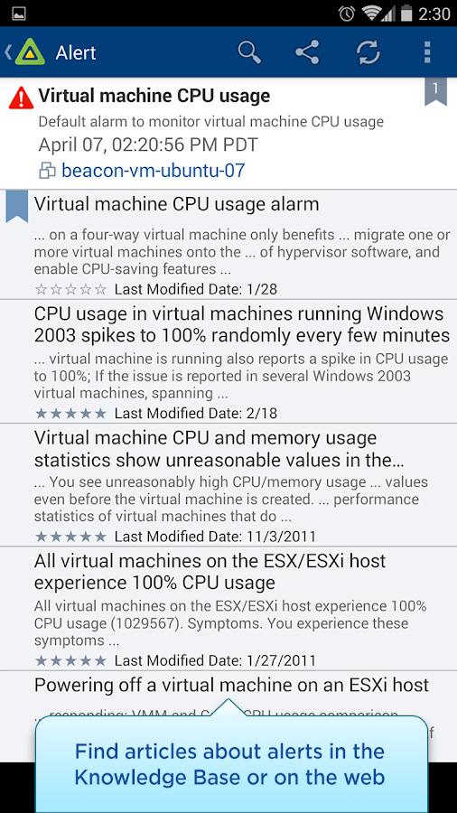 vSphere Mobile Watchlist- screenshot