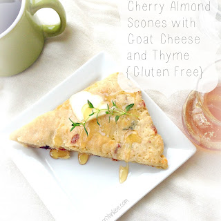 Cherry Almond Scones with Goat Cheese and Thyme {Gluten Free}.
