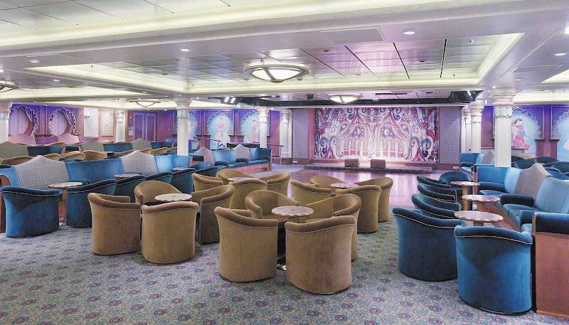 Toward the bow of Explorer of the Seas, Maharaja's Lounge offers live music, dancing and other forms of entertainment.