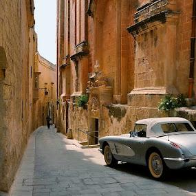 Viintage by Francis Xavier Camilleri - City,  Street & Park  Street Scenes ( car, viintage, malta, mdina, historic district, sun light, architecture, people,  )