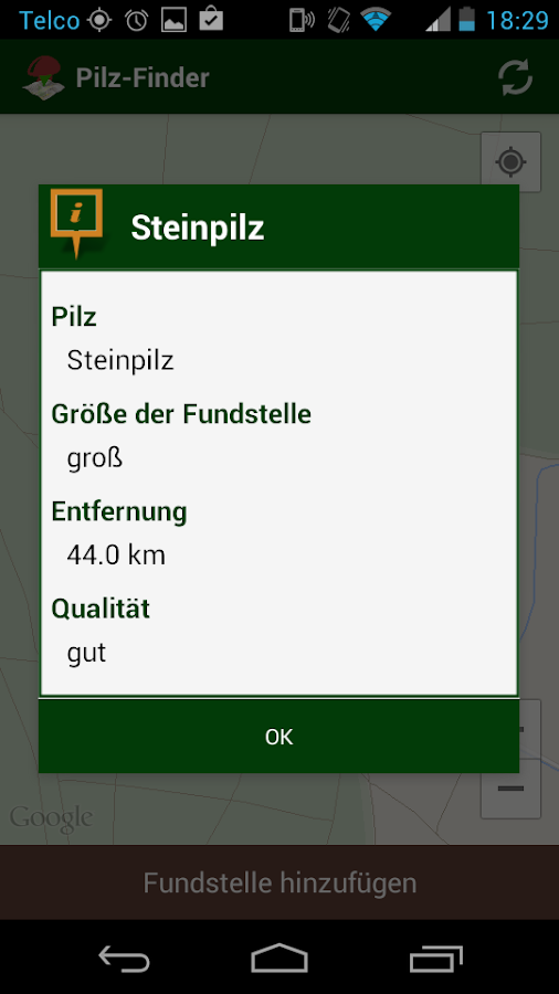 Pilz-Finder – Screenshot