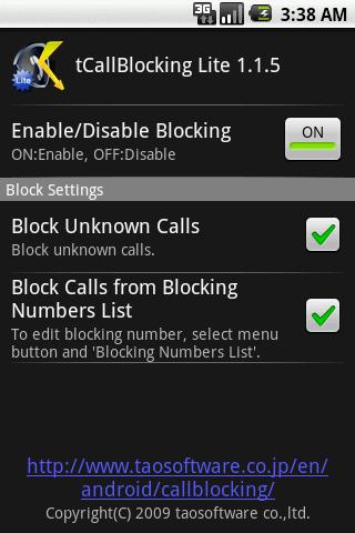 tCallBlocking Lite 屏幕截图 1