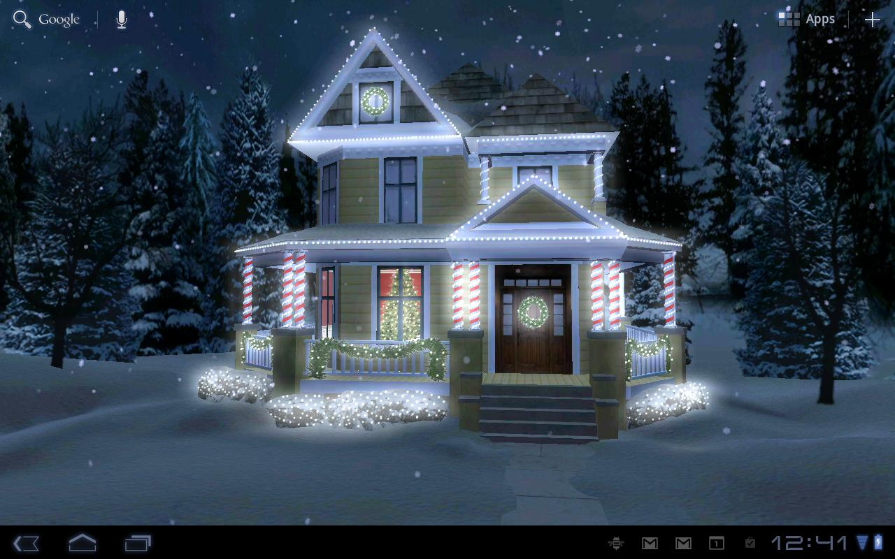 holiday lights live wallpaper screenshot - Snowfall Christmas Lights