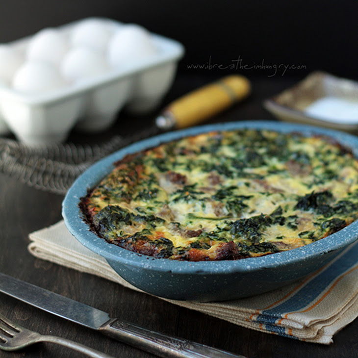 Sausage, Spinach & Feta Frittata – Low Carb and Gluten Free