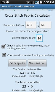 XStitch Fabric Calculator Pro- screenshot thumbnail