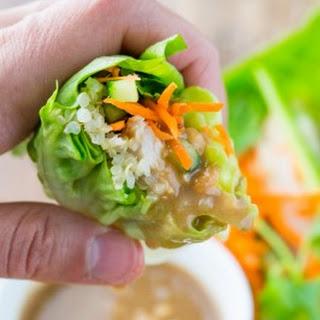 Chicken Quinoa Lettuce Wraps with Peanut Sauce.
