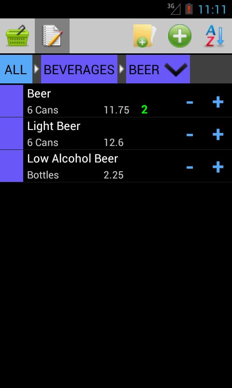 WIM Shopping List - screenshot