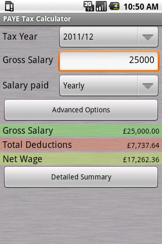 PAYE Tax Calculator Pro - screenshot