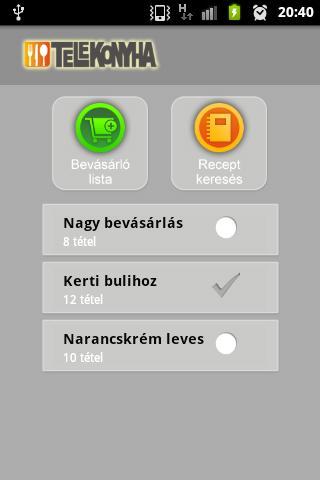 Bevásárlólista- screenshot