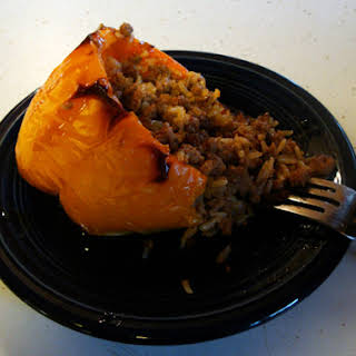 Spicy Asian Stuffed Peppers w/ Sweet Soy Glaze.